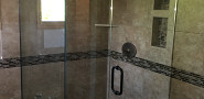 Shower tile with soap and shampoo niches