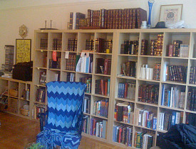 One wall of my living room is entirely covered by IKEA Expedit shelving units. -Chaya