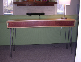 My DIY Mid-century style sofa table. Do you like it? --Phil