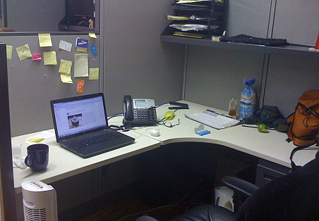 This was my cubicle before the Feng Shui tips from Ann Bingley Gallops. It was kind of a disaster. --Chaya